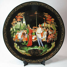 LIMITED EDITION RUSSIAN LEGENDS PORCELAIN PLATE - PRIEST AND BALDA, HAND PAINTED