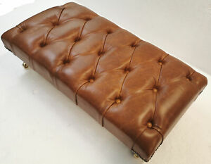 Rectangular Chesterfield Footstool Table Genuine Tan Leather