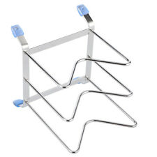 Lid Stand Organizer Non‑slip Pot Lid Rack Plate Storage Rack Silver for Home