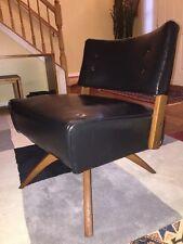 Mid Century Side Swivel Lounge Club Chair Danish Style Wood Splayed Spider Legs