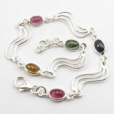 Genuine Tourmaline Link Bracelet 925 Pure Silver New Fashion Jewelry