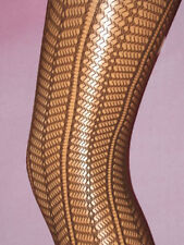 Dark Brown Stretchy Lace Tights. 8-12 vertical lines pattern. new neutral office