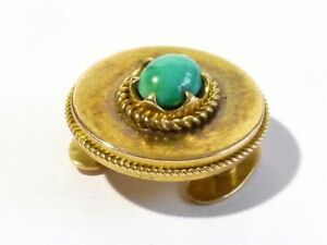 Antique Russian 14ct Yellow Gold Button Stud, Turquoise Cabochon - Maker is SA