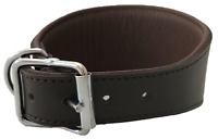 HAND MADE BROWN PADDED LEATHER LURCHER GREYHOUND DOG COLLAR SOFT LINED
