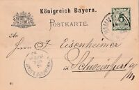 Postkarte verschickt von Hammelburg nach Schweinfurt aus dem Jahr 1893
