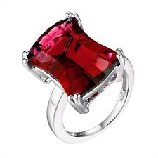 #R4190 5.5ct Ruby Red Starburst-Cut Helenite Rectangular Ring in Sterling Silver