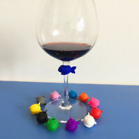6 Pcs Cute Guppy Cup Wine Glass Drink Markers Silicone Label Tag Bottle Charms