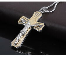 Titanium Christianity Jesus Cristo Pendant Chain Mens Gold Plated Necklace MN48
