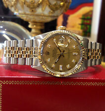 MENS ROLEX OYSTER PERPETUAL DATEJUST GOLD STEEL DIAMOND WATCH