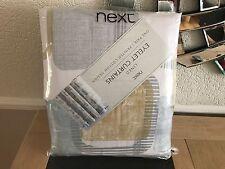 "Next Teal Square Geo Print Eyelet Lined Curtains 90 x 90"" (228x229cm) - BNIP"