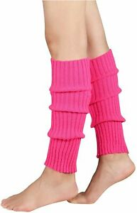 Durio Women's Fashion Leg Warmers 80s Ribbed Knit Leg, Rose, Size One Size D2d5