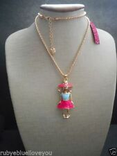 Necklace Betsey Johnson Fashion Doll GT Enamel Pink/Baby Blue
