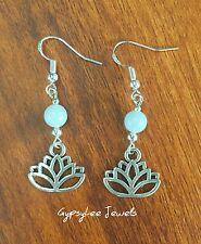 Lotus Flower Aquamarine Bead Earrings Gypsy Soul Peace Yoga Love Chakra Healing