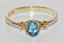 9ct Oro Giallo Blu Topazio Anello Donna Pietra Singola-Dimensione N-Regalo Inscatolato