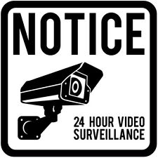 45-200mm CCTV 24 Hour Surveillance White Square Sign Sticker Safety Warning