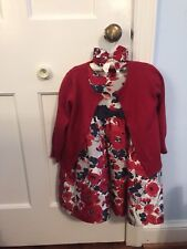 Euc Janie and Jack Red & Blue Silk Flowered Dress, Bow, and Red Sweater Size 2T