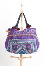 Purple Diamond Tribal Tote Bag Made By Ethnic Hmong Thai Embroidered