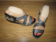 NWOB Naturalizer Black & Silver Pewter Strappy Woven Sandals - 6.5M European 37