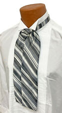 Boys Grey Black & White Striped Ascot Cravat Tie Formal Victorian Morning Dress