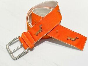 Dog Patterned Ribbon Belt Embroidered  Gifts Pet Parents Orange