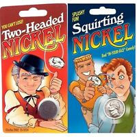 DOUBLE HEAD NICKEL + 1 SQUIRTING NICKEL Funny Coins Classic Pranks Gag