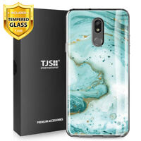 For LG Stylo 5, 5V, 5+ Plus, Phone Case TJS Juno Green Marble +Tempered Glass
