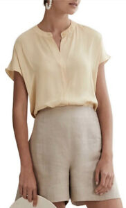 Country Road Short Sleeve Popover Top [6] NWT RRP$139 Butter