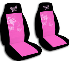 Front  set car seat covers  black and hot pink with butterfly   Universal size