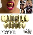 18k Gold Plated Hip Hop Teeth Grillz Caps Top & Bottom Grill Set WITH CASE BO