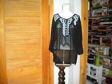 Billa Women's Black Sheer Lace Hippie Boho Peasant Top Sz Large #4577
