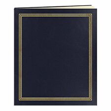 Scrapbook Album 100 Pages 50 Sheets Navy Blue Photo Storage Leatherette Cover