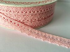 Cotton Scalloped Edge Lace Trim 10mm - Baby Pink