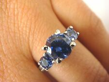 3 CT. T.W. AAA TANZANITE & 0.25 CT DIAMONDS HIGH END ENGAGEMENT-FRIENDSHIP RING