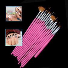 15Pc Pink Nail Art Acrylic UV Gel Design Painting Pen Tips Tools Brush Set Kit