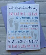 Handmade Personalised Mothers Day or Birthday Card: Walk Alongside Me Mummy Poem