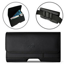 Agoz Leather Sideways Belt Pouch for Phone fitted with Hybrid / Ballistic Cover