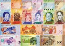 VENEZUELA - Lot Lotto 6 banconote 2/5/10/20/50/100 Bolivares fuertes FDS - UNC