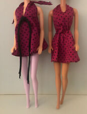 Barbie Clothes: Lot Of 2 Vintage Silky Plum Pink Dresses With Black & White Tags