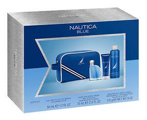 Nautica Blue Eau De Toilette for Men   EDT + Hair & Body Wash + Deodorant Spray