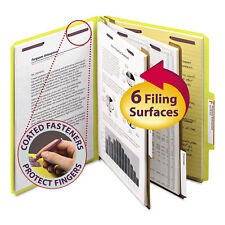 Smead Pressboard Classification Folders Letter Six-Section Yellow 10/Box 14034