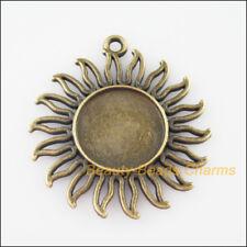 1Pc Antiqued Bronze Tone Sun Flower Picture Frame Charms Pendants 42.5x46mm