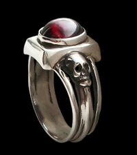 Sterling Silver Dark Gothic Engagement Skull Ring With Red Garnet - All Sizes