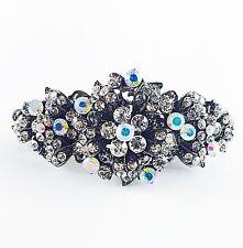 USA BARRETTE Rhinestone Crystal Hairpin Claw Clip Metal Vintage Flower Silver 02