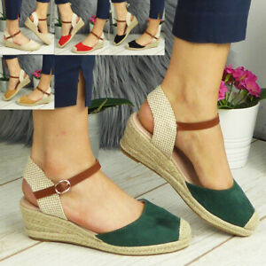 Ladies Womens Wedges Hessian Buckle Closed Toe Comfy Summer Sandals Shoes Sizes