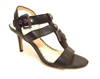 COACH Size 6 ROBIN Black Leather Ankle Strap Heels Sandals Shoes