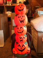 """Blow Mold Halloween Pumpkin Stack Sun Hill New Stock 2 Bulb Cord 38"""" Inches"""