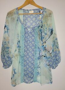 ANTHROPOLOGIE Fig and Flower Size XL Baby Blue Sheer Flowers Shirt Blouse Top