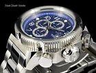 NEW Invicta 52mm I Force Quartz Chronograph BLUE DIAL Silver Tone SS Watch 90161