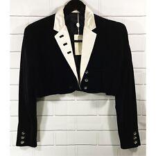 VTG NWT RARE Gianni Versace Cropped Black Velvet Tuxedo Jacket Coat EUR 42 US 6