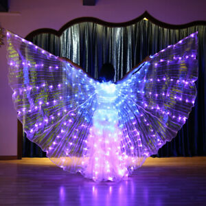 Belly Dance Costume 360° LED Light Isis Wings Sticks Performance Change colorful